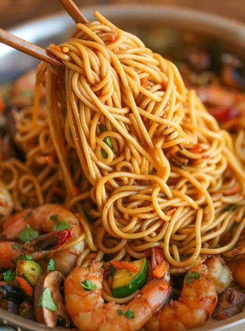 Asian Garlic Noodles with Shrimp Recipe