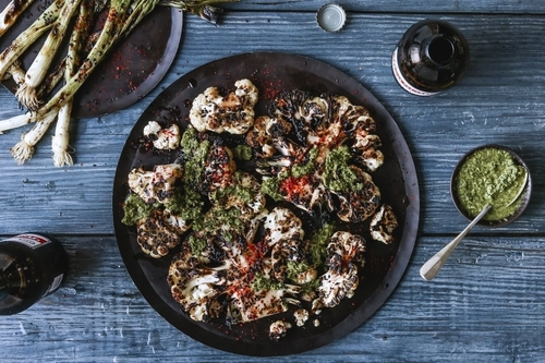 Grilled Cauliflower Steaks with Scallions Recipe